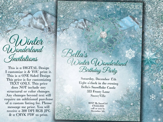 winter wonderland party winter snowflake invitation winter etsy