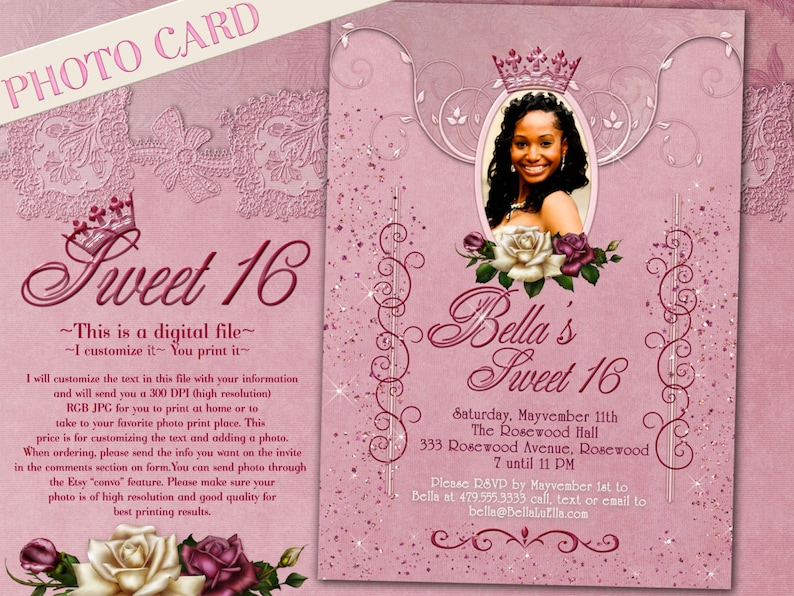 Photo Invitation Cards Sweet Sixteen Card Birthday