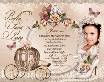 Quinceanera Invitation, CinderBella Sweet 16, Sweet 16 Party Invitations, Princess Invitations, Photo Cards
