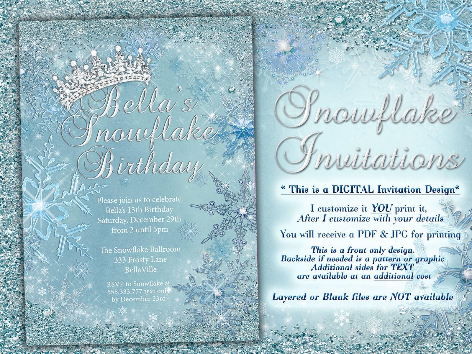 princess frozen winter wonderland party winter snowflake invitation