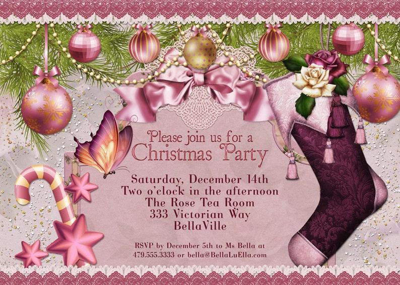 Weihnachtskarten Einladung.Weihnachtsparty Einladung Viktorianische Weihnachtskarte Ladies Christmas Luncheon Weihnachtskarten Weihnachtsfeier Einladungen
