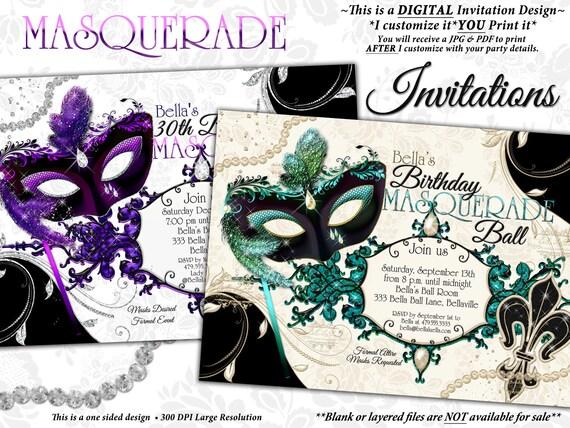 Masquerade Party Invitation Mardi Gras Venetian Mask
