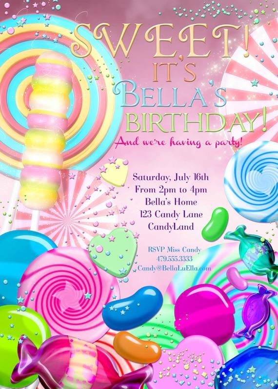 candy land birthday party invitation birthday party etsy
