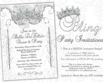 Bling Diamond Party Invitations, Quinceanera Invitation, Party Invitations, Sweet 16 Party, Mis Quince Anos, White Diamond Bling Theme