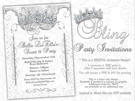 Bling Diamond Party Invitations Quinceanera Invitation Party Etsy