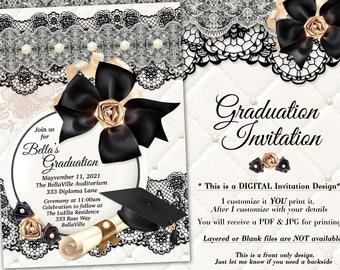Elegant Graduation Invitations, Grad Invites, Graduation Ceremony, Black White Gold Pearl Graduation Invitation, Diploma Hat Invite