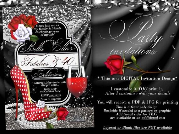 Fabulous And Fifty Party Invitations Diva Birthday Birthday Etsy