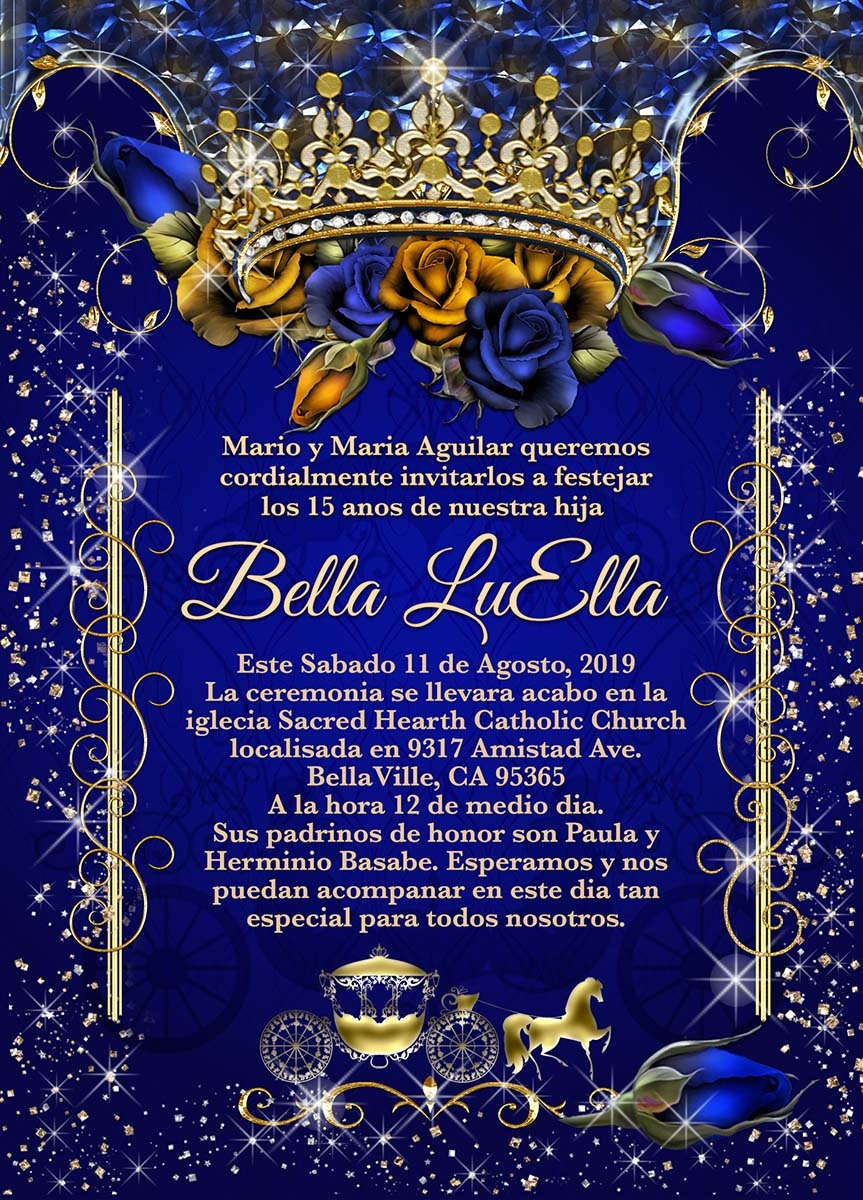 royal blue gold rose tiara gold carriage invitation