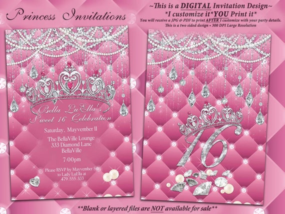 diamond and pearl invitation birthday sweet 16 invitation etsy