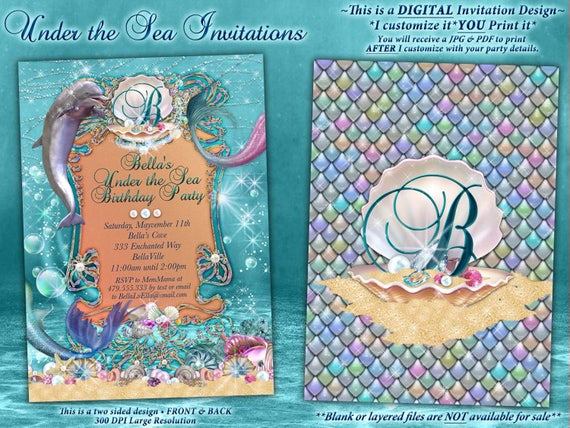 dolphin under the sea party invitations under the sea etsy
