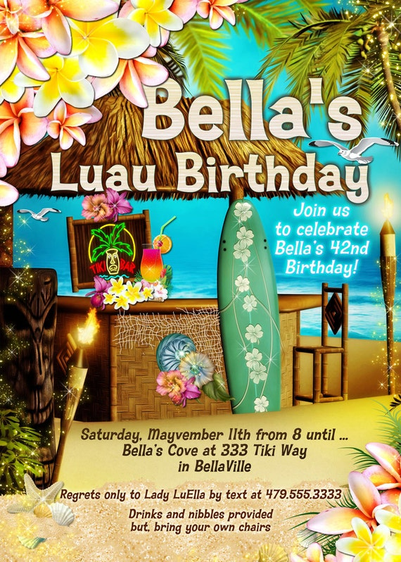 tiki party beach party invitation luau party summer party etsy