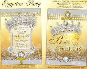 Egyptian Diamond and Pearl Invitation, Egyptian Theme Sweet 16 Invitation, Quinceanera, Bling Party Invitations, Mis Quince Anos, Egypt