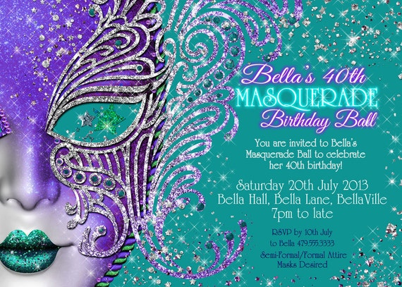 Quinceanera Masquerade Invitation Sweet 16 Mask Party Etsy