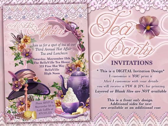 Tea Party Invitations Hat Parties