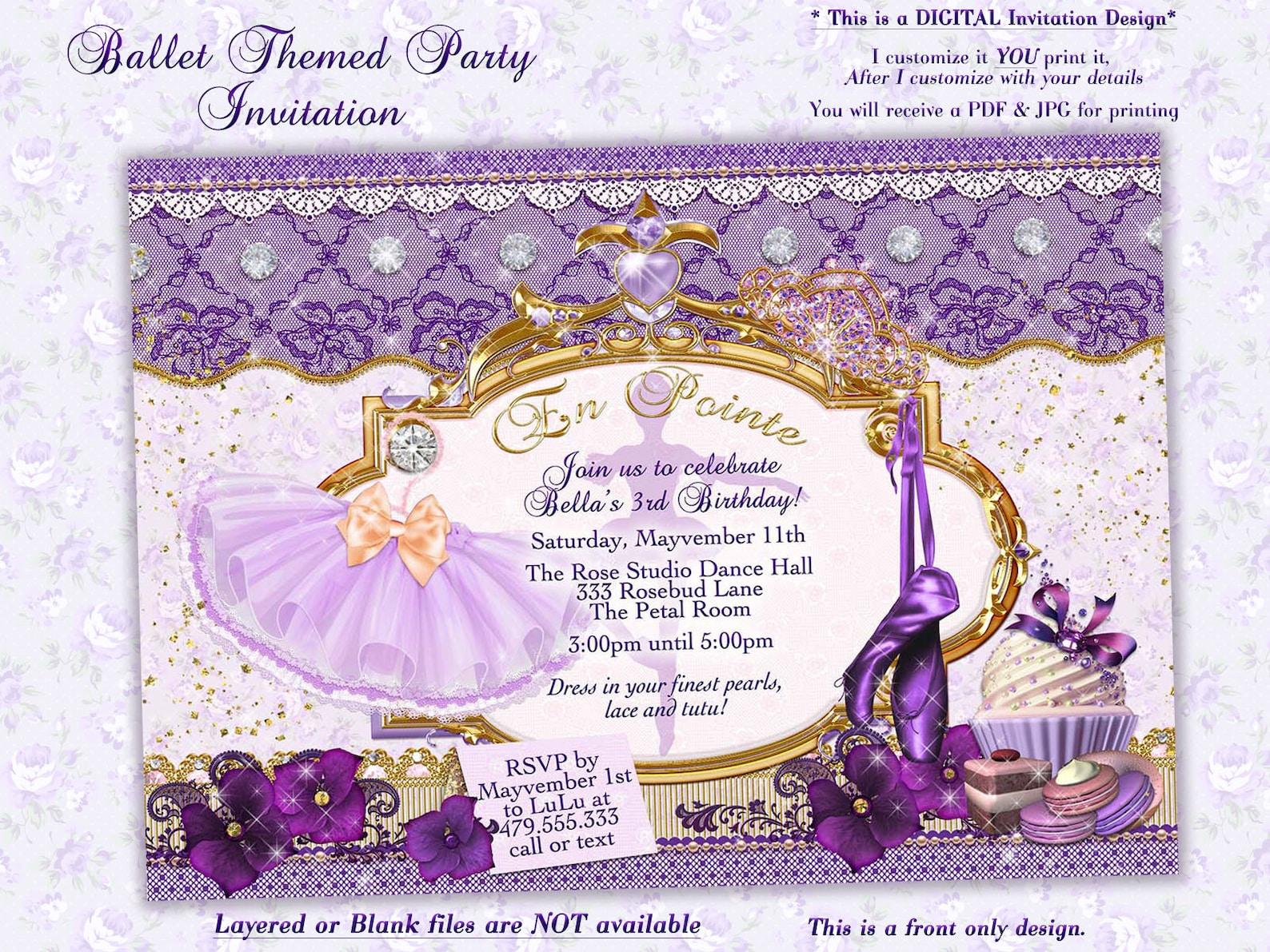 ballet birthday, ballerina birthday, birthday party invitation, ballet themed party, girls birthday party
