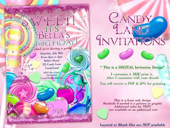 glitter candy land birthday party invitation glitter birthday etsy