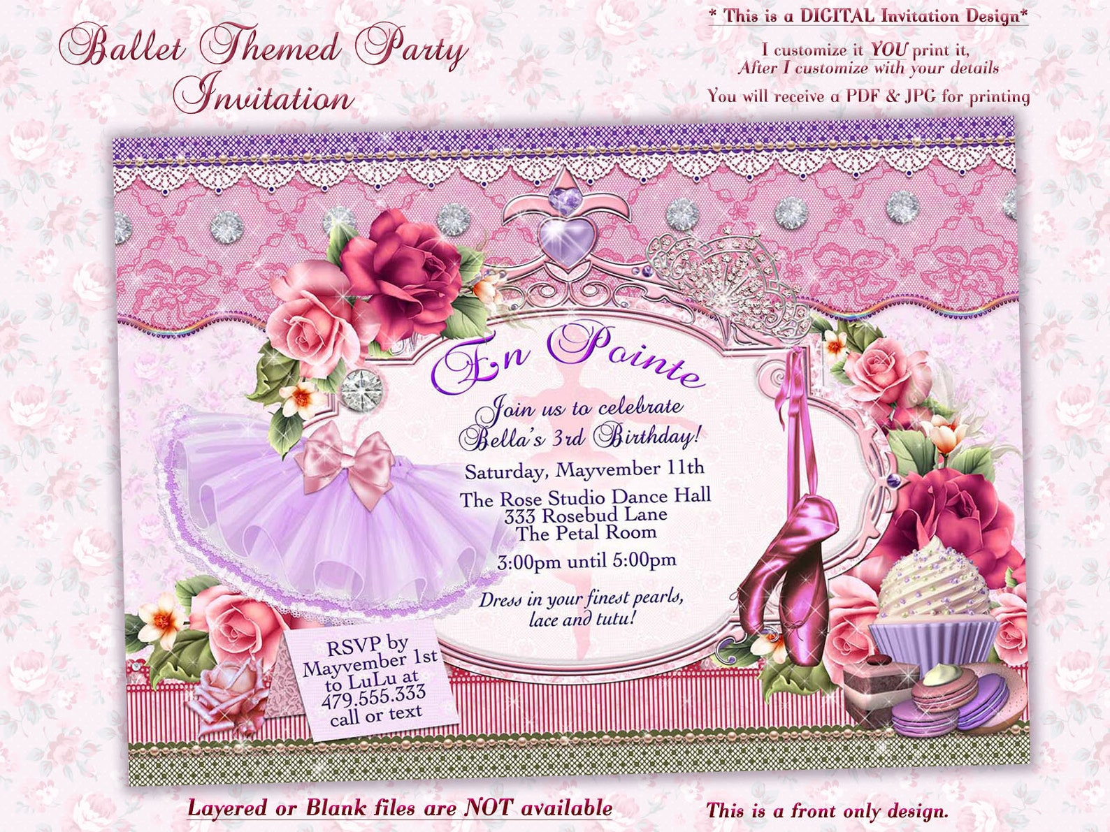 ballet birthday, ballerina birthday, birthday party invitation, ballet themed party, girls birthday party