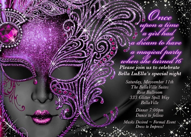 Sweet 16 Masquerade Party Invitation Mardi Gras