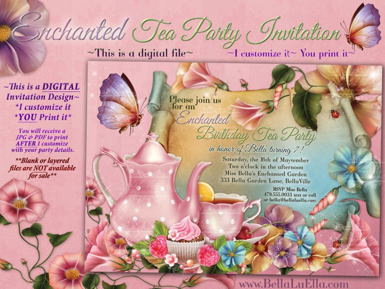 19ad24f114 Fairy Tea Party Invitation Birthday Tea Party Tea Party | Etsy