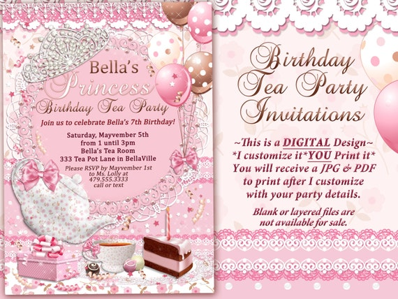 Tea Party Invitation Princess Birthday