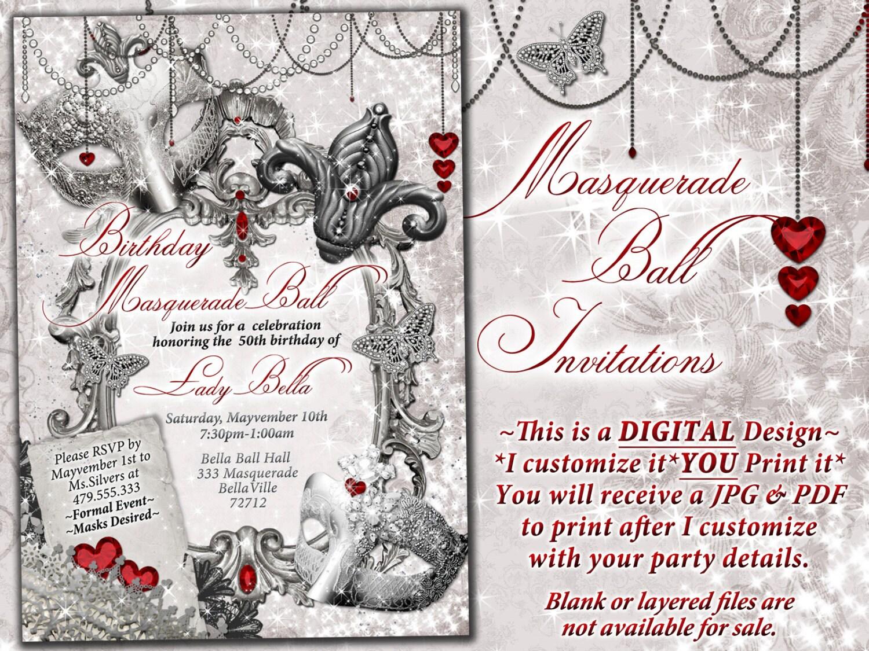 Masquerade Party Invitation, Mardi Gras Party, Party Invitations ...