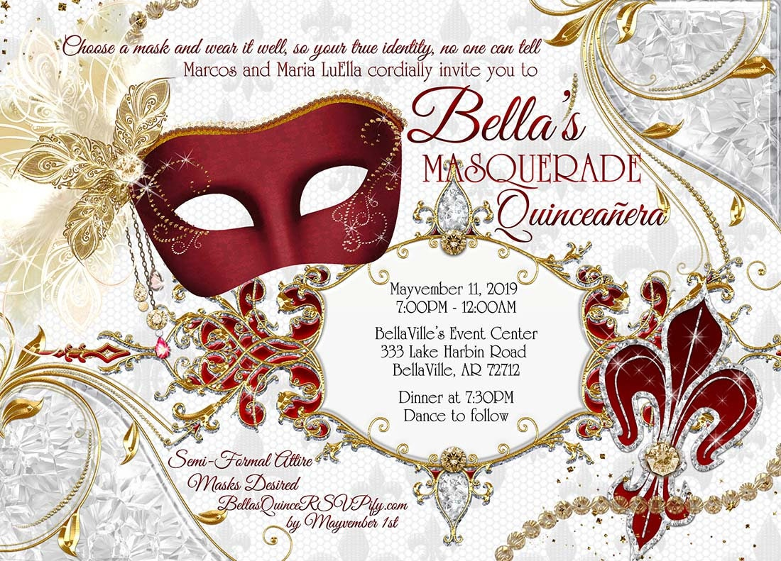 Masquerade Party Invitation Quinceanera Sweet 16 Masquerade | Etsy
