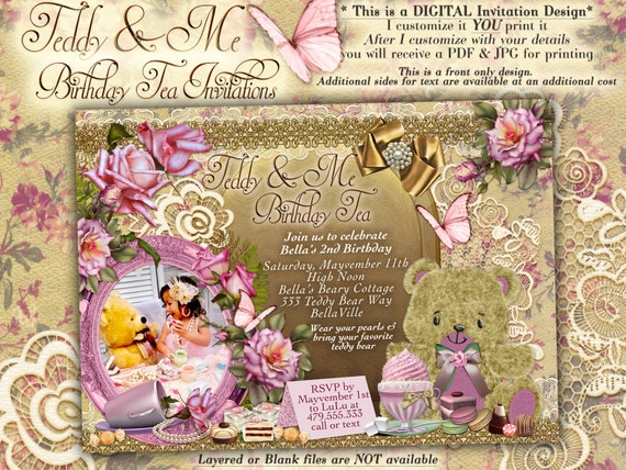 Teddy Bear Tea Party Invitation Teddy Tea Party Teddy And Me Etsy
