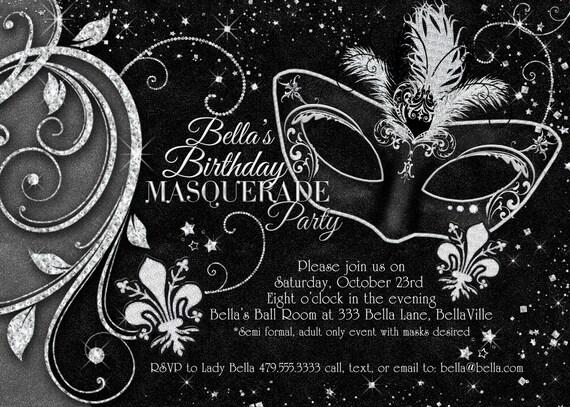 Black White Masquerade Ball Invitation Mardi Gras
