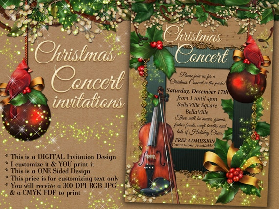 christmas concert invitation holiday music program christmas etsy