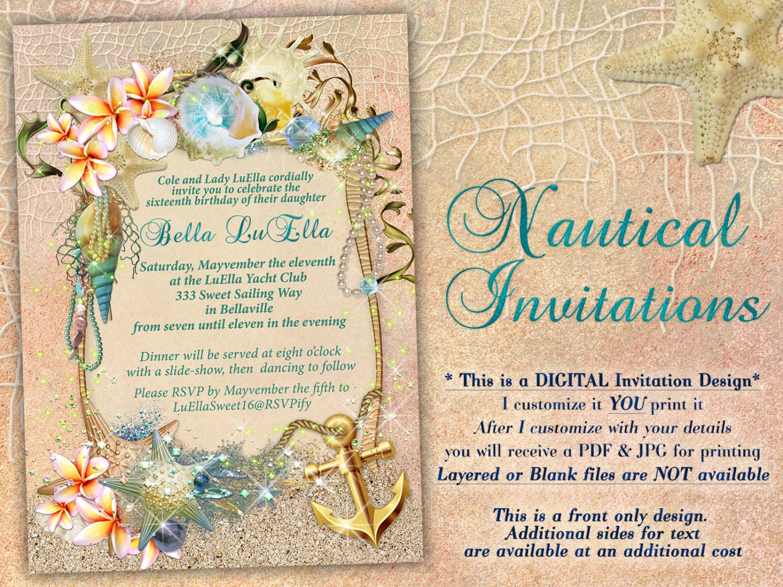 Nautical Theme Party Invitation Nautical Beach Theme Shower