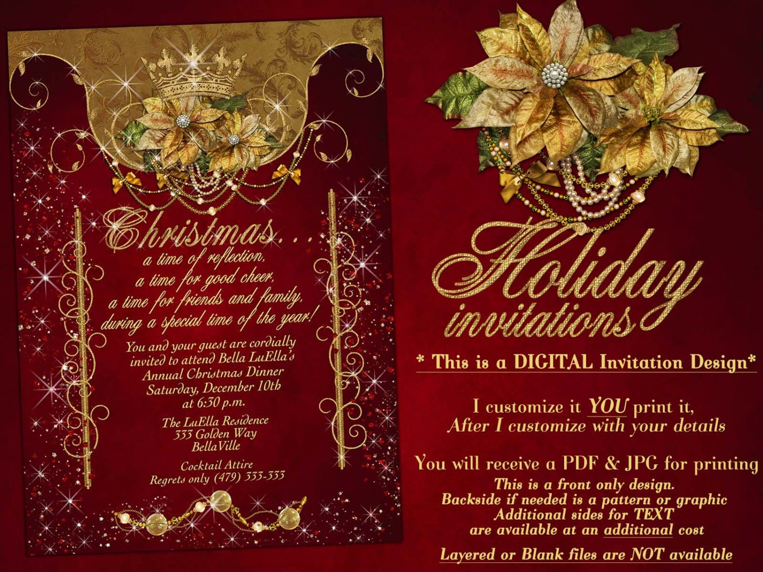 Holiday Party Christmas Party Invitations Holiday Dinner