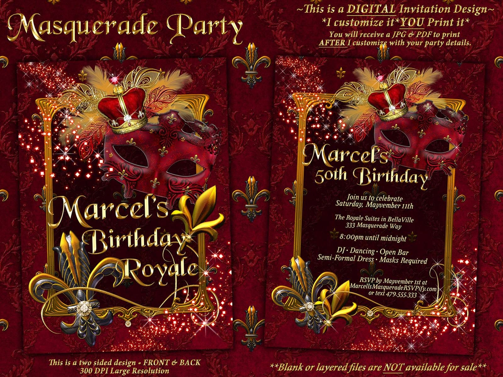 Mens Masquerade Party Invitation Royale Red Mardi Gras Party | Etsy