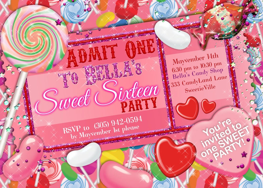 Glitter Candy Land Party Candy Party Invitation Glitter Sweet 16