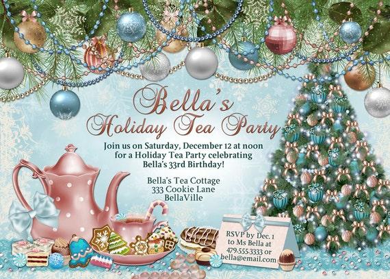 victorian christmas tea party invitation holiday tea party etsy
