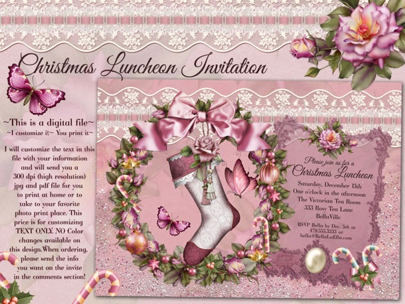christmas luncheon invitation victorian christmas card etsy