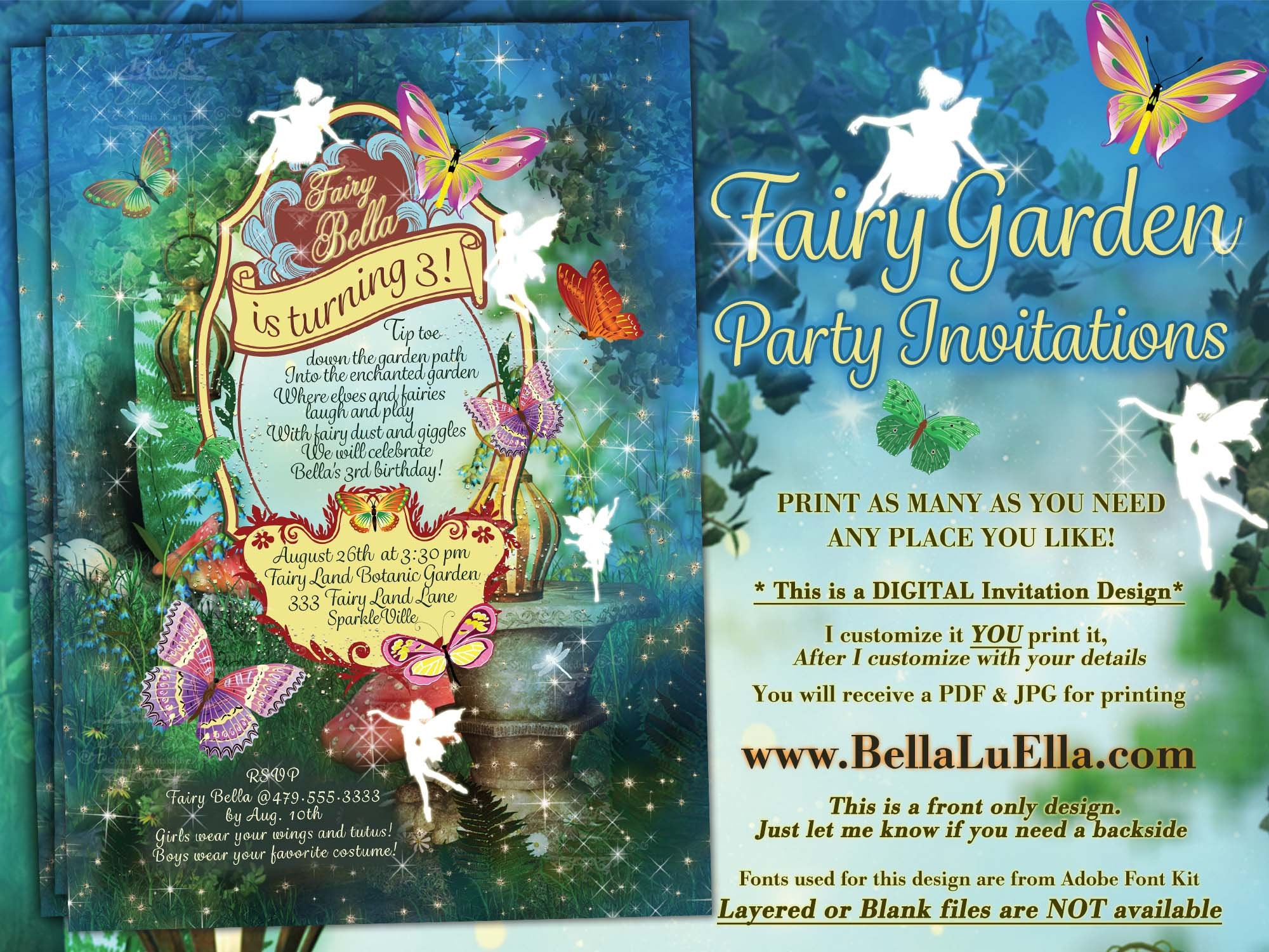 Fairy Garden Birthday Party Fairy Forest Party Girls Fairy Birthday Enchanted Garden Party Invitation Fairytale Forest Party Invitation