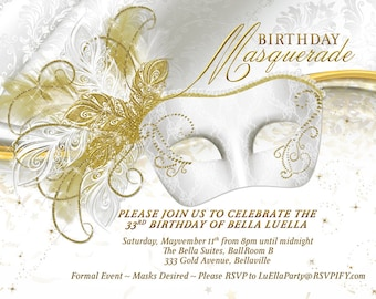 Masquerade Party Invitation, Mardi Gras Party, Party Invitations, Masquerade Invitations, White Gold Mask, Mis Quince Anos, Sweet Sixteen