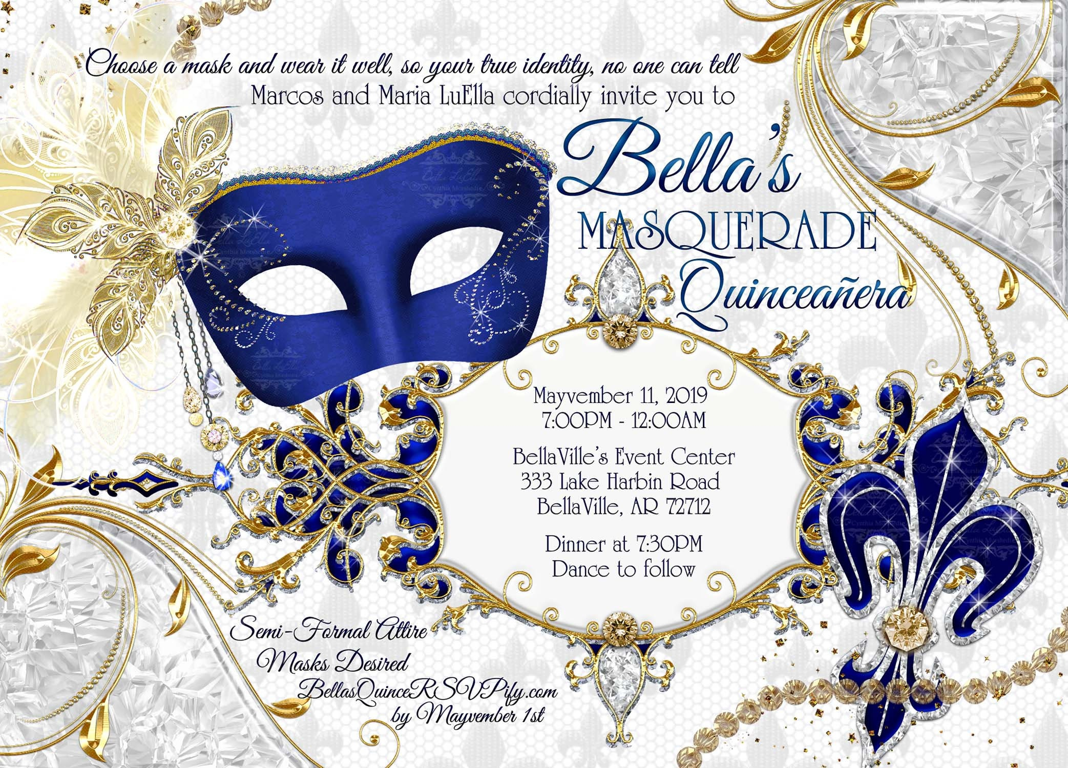 Blue Masquerade Party Invitation Quinceanera Sweet 16