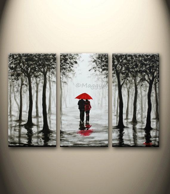 Large Original Paintingwall Arthome Decorred Umbrellawalk Etsy