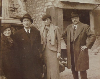 1930's French Photo - Men & Women Stood by a Car