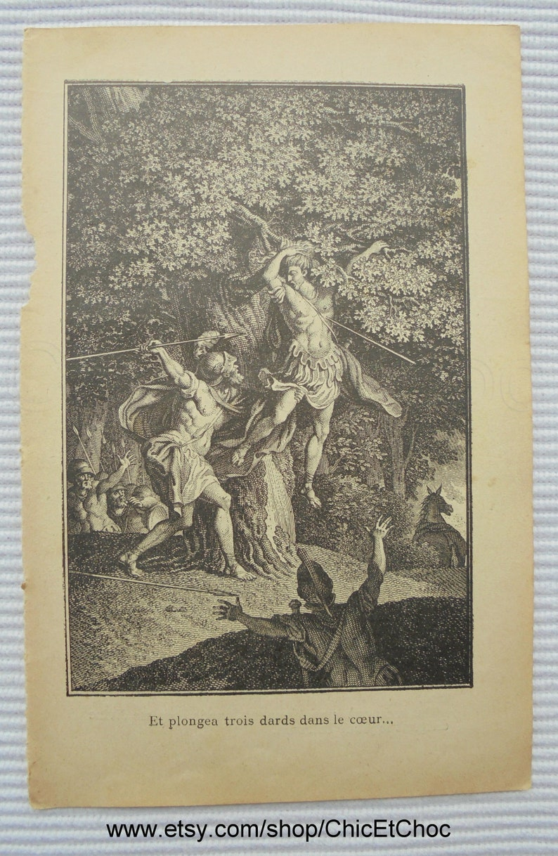 French Antique Religious Image Book Page The Killing of Absalom