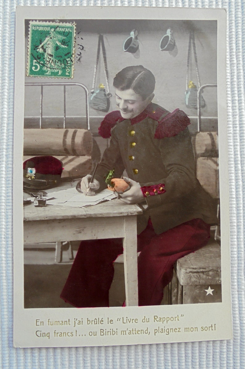 Set of 3 Antique French Postcards Soldier Trying to Get Money from His Parents
