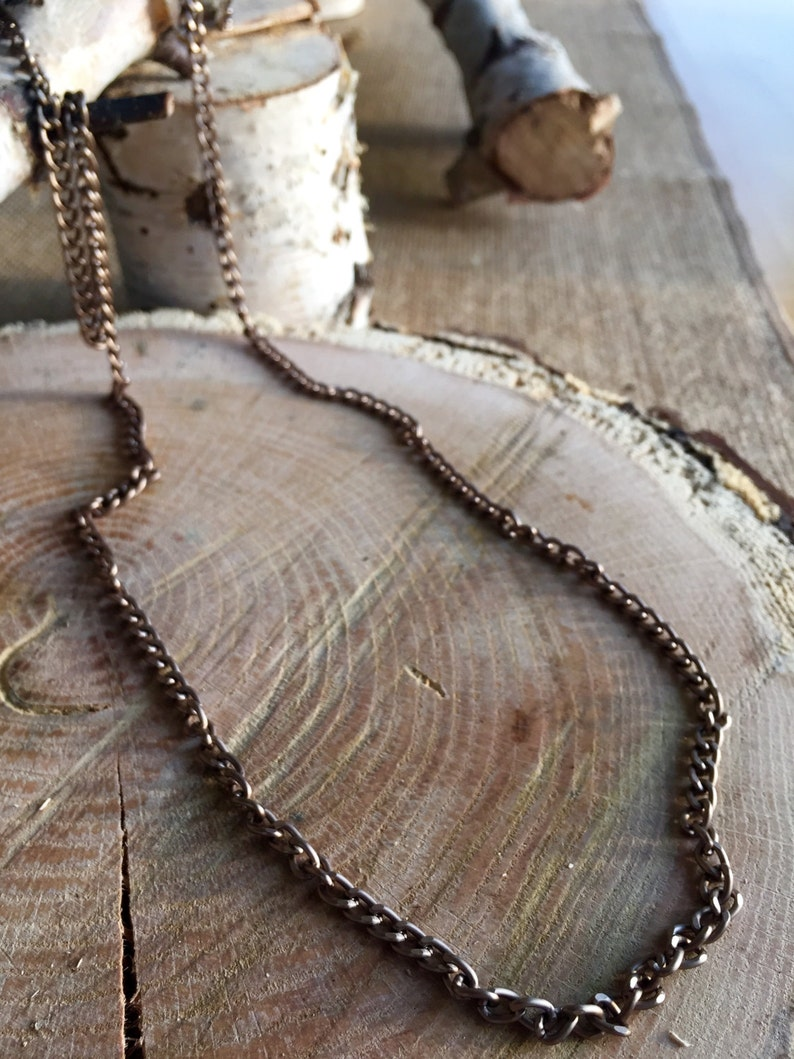 Warm metal 33 long aluminum chain necklace