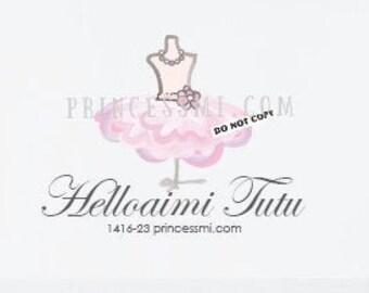 tutu logo design, kid boutique logo, party dress logo, girl fashion logo,    1416-23