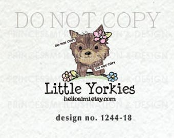 1244-18   yorkie, dog logo design, puppy logo design, pet shop logo, logo branding, business branding, pet shop, cute dog design, watermark