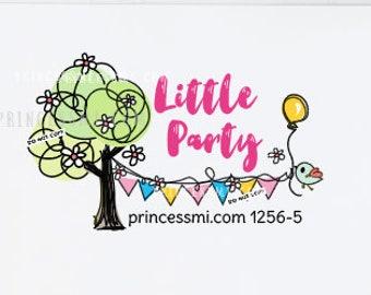 tree logo, party logo, little bird logo, kid business logo, craft logo,  1256-5