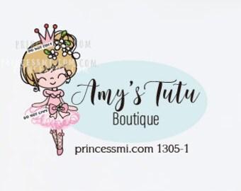 tutu logo design, party dress logo, kid boutique logo, girl logo, doll logo,   1305-1