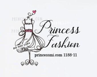 fashion logo, hand drawn logo, girl boutique logo, party dress logo ,  1188-11