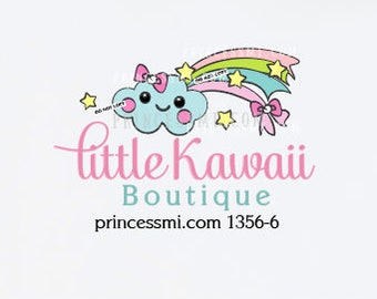 Cloud logo, kawaii logo, rainbow logo design, cute face logo, kids business logo   1356-6