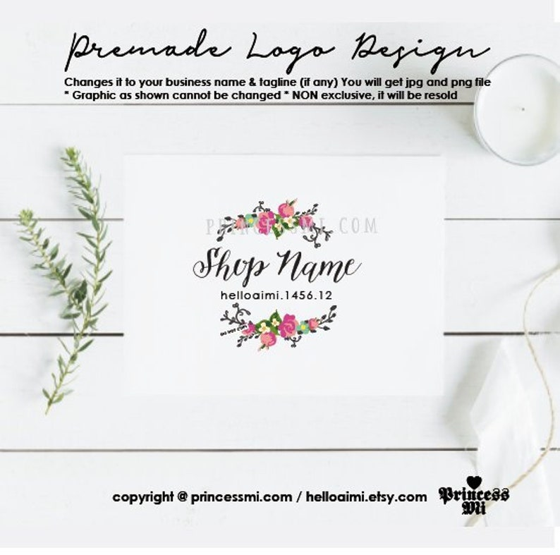 logo design floral logo wreath florist logo for boutique image 0